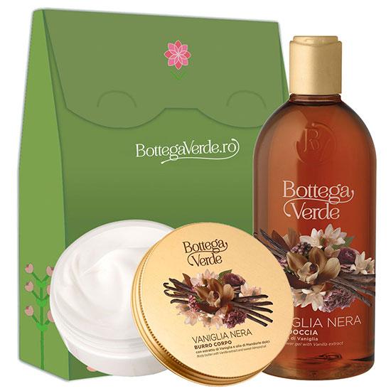 Set cadou femei ingrijire corp cu extract de vanilie neagra si ulei de migdale dulci - Vaniglia Nera, 400 ML + 150 ML