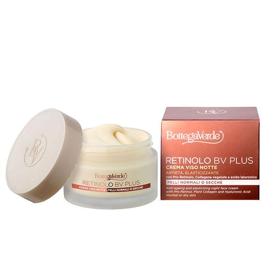 Crema anti-imbatranire de noapte, cu pro-retinol, colagen vegetal, acid hialuronic, extract de ginseng si vitaminele E si F - Retinolo Bv Plus, 50 ML