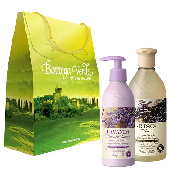 Set cadou - Gel de dus cu orez venere si crema de corp cu extract de lavanda italiana - Riso Venere  (400 ML + 250 ML)