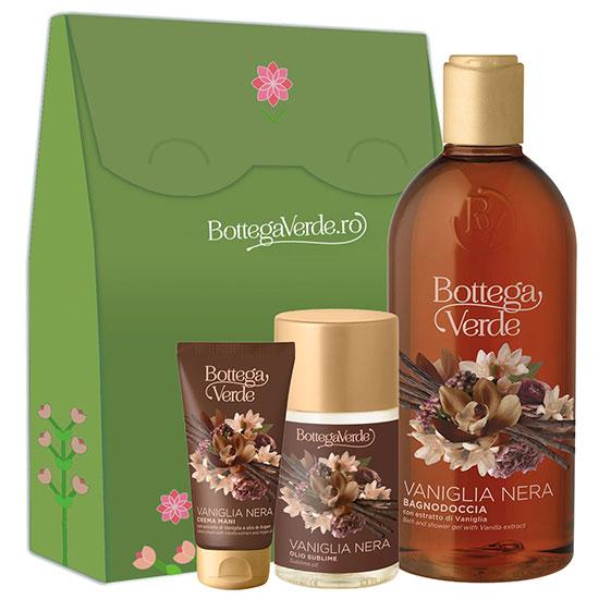 Set cadou hidratare corp cu extract de vanilie neagra, ulei de argan si ulei de migdale dulci - Vaniglia Nera, 400 ML + 100 ML + 75 ML