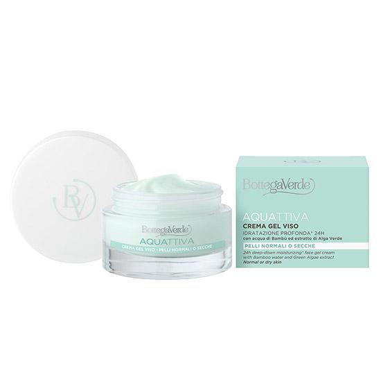 Crema-gel intens hidratanta 24H, pentru ten normal si uscat, cu extract de alge verzi si apa de bambus - Aquattiva, 50 ML