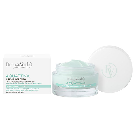 Crema-gel intensiv hidratanta 24h, pentru piele mixta, cu extract de alge verzi si apa de bambus - Aquattiva, 50 ML