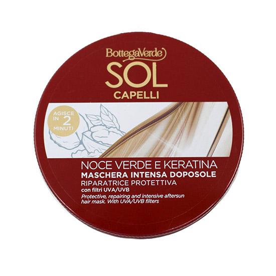 Masca pentru par dupa soare, cu ulei de nuci verzi si keratina - Sol Capelli Noce Verde e Keratina, 200 ML