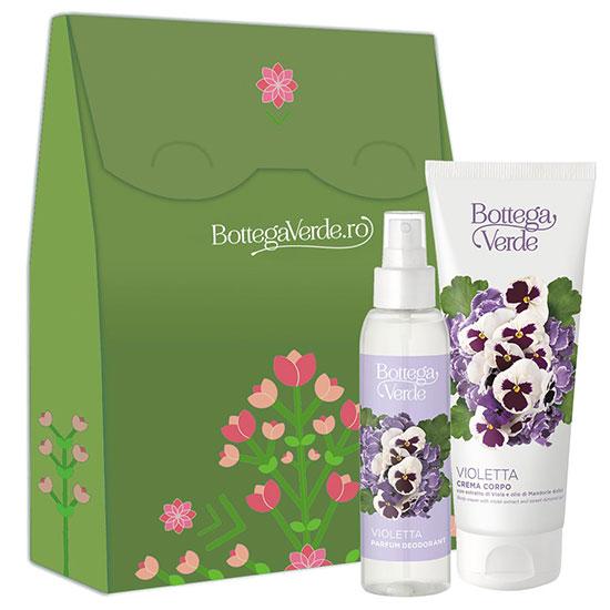 Set cadou femei parfum deodorant si crema de corp cu extract de violete - Violetta, 125 ML + 200 ML