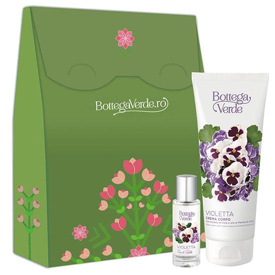 Set cadou femei apa de toaleta si crema de corp cu extract de violete - Violetta, 200 ML + 30 ML