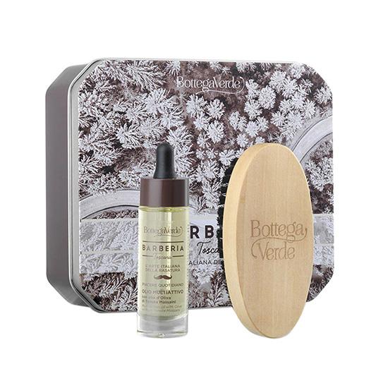Set cadou barbati pentru barba perfecta, cutie metal - Barberia Toscana, 30 ML, 1 B