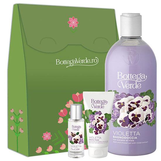 Set cadou femei hidratare corp cu aroma de violete - Violetta, 400 ML + 75 ML + 30 ML
