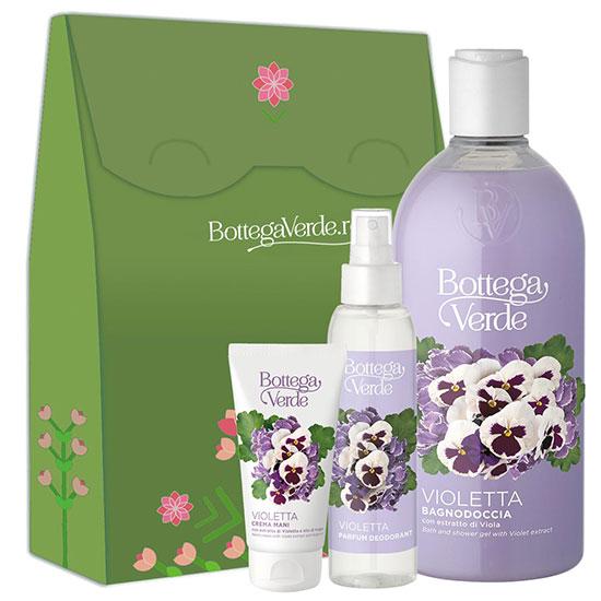 Set cadou femei parfum deodorant, crema de maini si gel de dus cu violete - Violetta, 400 ML + 75 ML + 125 ML