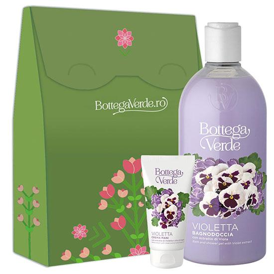 Set cadou femei hidratare corp cu extract de violete - Violetta, 400 ML + 75 ML