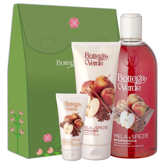 Set cadou femei hidratare corp cu extract de mere si scortisoara - Mela e Spezie, 400 ML + 200 ML + 75 ML