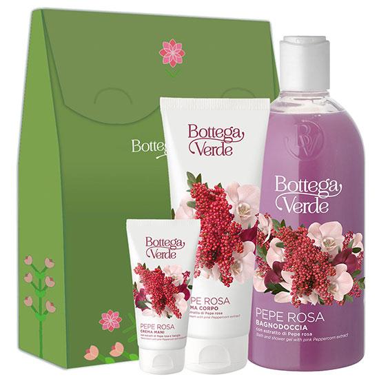 Set cadou femei hidratare corp cu extract de piper roz - Pepe Rosa, 400 ML + 75 ML + 200 ML