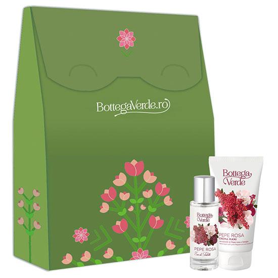 Set cadou femei apa de toaleta si crema de maini cu piper roz - Pepe Rosa, 30 ML + 75 ML