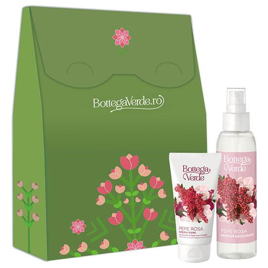 Set cadou femei parfum deodorant si crema de maini cu piper roz - Pepe Rosa, 125 ML + 75 ML