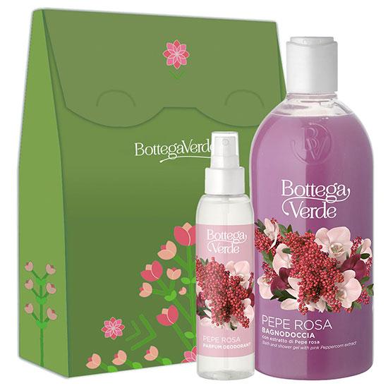 Set cadou femei parfum deodorant si gel de dus cu extract de piper roz - Pepe Rosa, 125 ML + 400 ML