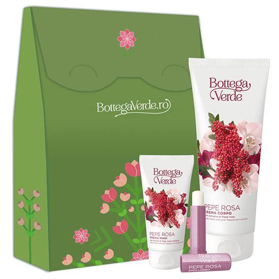 Set cadou femei hidratare corp cu extract de piper roz si vanilie - Pepe Rosa, 75 ML + 5 ML + 200 ML