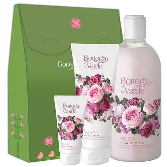 Set cadou femei hidratare corp cu aroma de trandafiri - Rosa, 400 ML + 75 ML + 200 ML