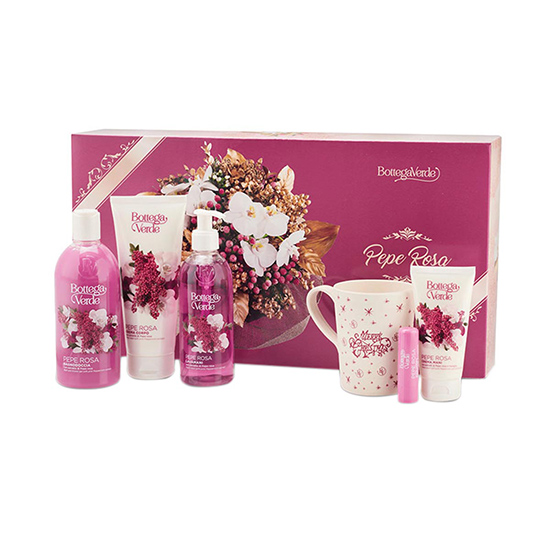 Set cadou femei, ingrijire completa corp, cu extract de piper roz - Pepe Rosa, 1 B, 200 ML, 250 ML, 400 ML, 5 ML, 75 ML