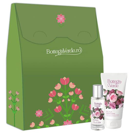 Set cadou femei apa de toaleta si crema de maini cu aroma de trandafir - Rosa, 30 ML + 75 ML