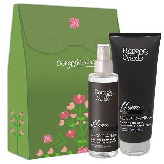 Set cadou barbati parfum deodorant si gel de dus hidratant - Nero d'Ambra, 150 ML + 200 ML