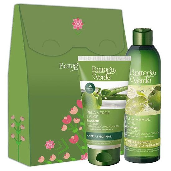 Set cadou femei pentru curatare delicata a parului - Mela Verde, 250 ML + 150 ML