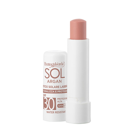 Balsam de buze, rezistent la apa, cu vitamina E si ulei de argan, SPF30, nude - SOL Argan, 5 ML