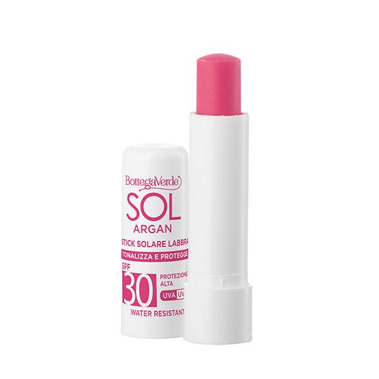 Balsam de buze, rezistent la apa, cu vitamina E si ulei de argan, SPF30, roz natural - SOL Argan, 5 ML