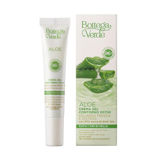 Crema gel pentru ochi, cu extract de aloe vera si 96% ingrediente naturale - Aloe, 15 ML