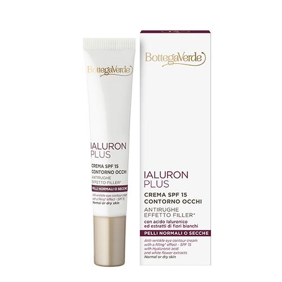 Crema antirid, pentru ochi, special conceputa pentru tenul uscat, cu acid hialuronic si extract de flori albe  - Ialuron Plus, 15 ML