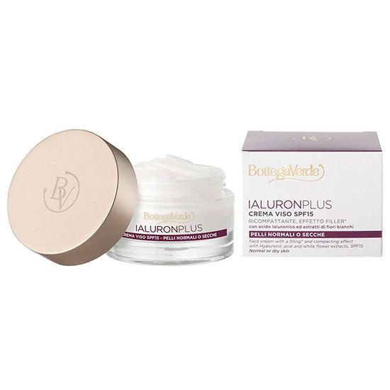 Crema de fata, efect filler, cu acid hialuronic si extract din flori albe, conceputa pentru toate tipurile de ten - Ialuron Plus, 50 ML