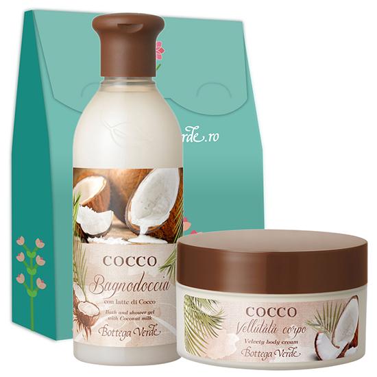 Set cadou - Gel de dus si crema de corp cu cocos - Cocco, 200 ML + 250 ML