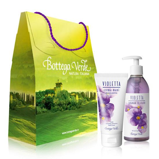 Set cadou - Crema de maini si sapun lichid cu parfum de violete 1 - Violetta  (75 ML + 250 ML)