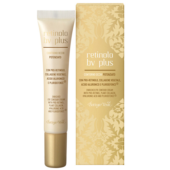 Crema pentru zona din jurul ochilor cu pro-retinol, colagen vegetal, acid hialuronic si Pluridefence - Retinolo Bv Plus, 15 ML