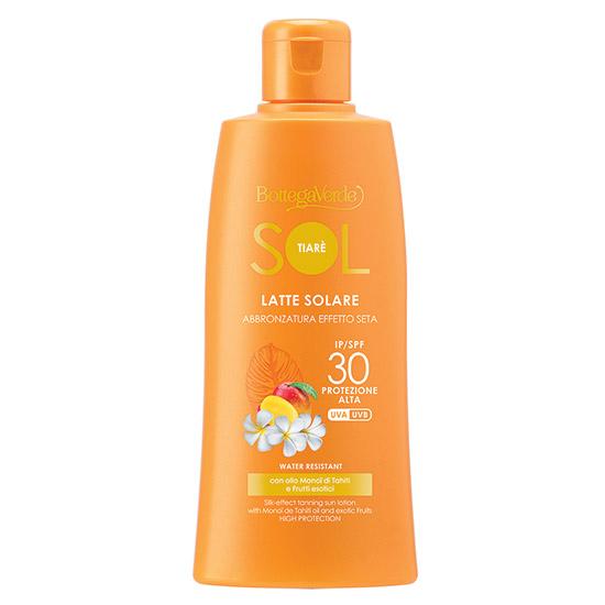 Lapte de corp hidratant cu protectie solara SPF 30 cu ulei de monoi din Tahini si fructe exotice - SOL Tiarè, 200 ML