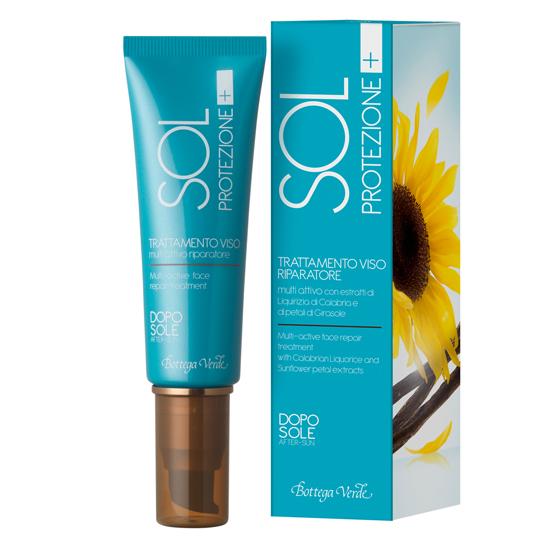 Protectie solara - Tratament pentru fata, dupa soare, cu o actiune reparatoare cu extract de lemn dulce din Calabria si petale de floarea soarelui