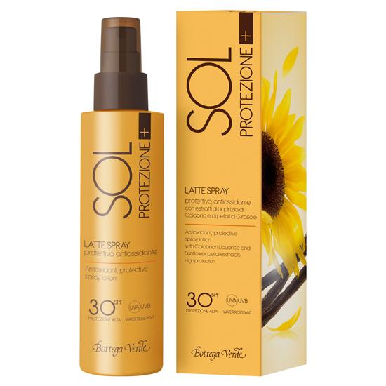 Lotiune spray antioxidanta, cu extract de lemn dulce  si petale de floarea soarelui  - Sol Protezione +  (150 ML)