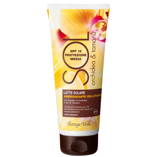 Protectie solara - Lapte autobronzant, catifelat, cu extract de orhidee si ulei de tamanu - rezistent la apa, de protectie medie SPF 15