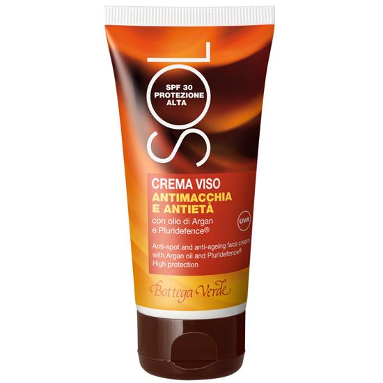 Protectie solara - Crema de fata impotriva petelor si a imbatranirii, cu extract de ulei de argan si pluridefence - protectie inalta SPF 30